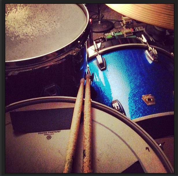 A drummer in Dallas, Steven's kit is pictured