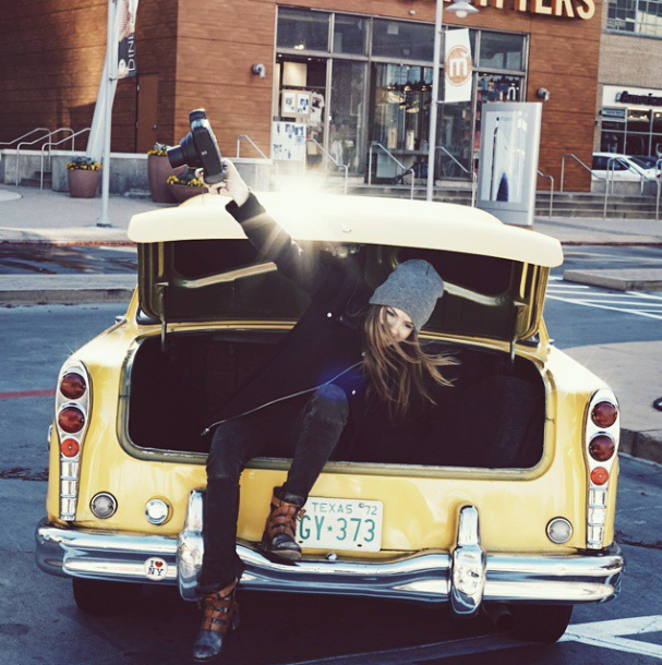 """Photographer Molly Dickson """"poppin' trunks"""" during the shoot."""