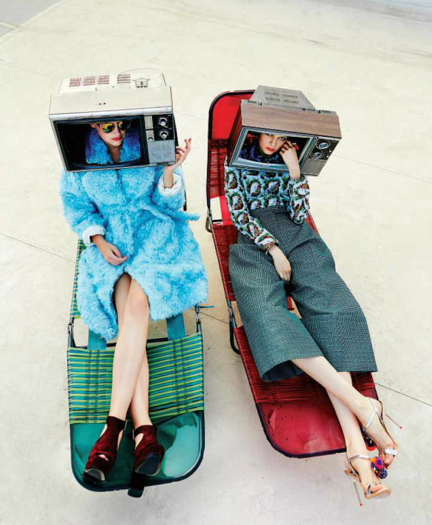 70s Fashion story with broken tv sets
