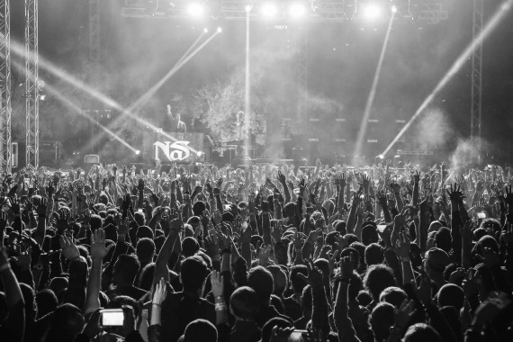 Black and white photo of the crowd at a concert