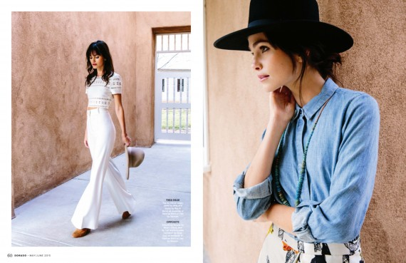 Woman in all white outfit and another in a denim shirt and black hat