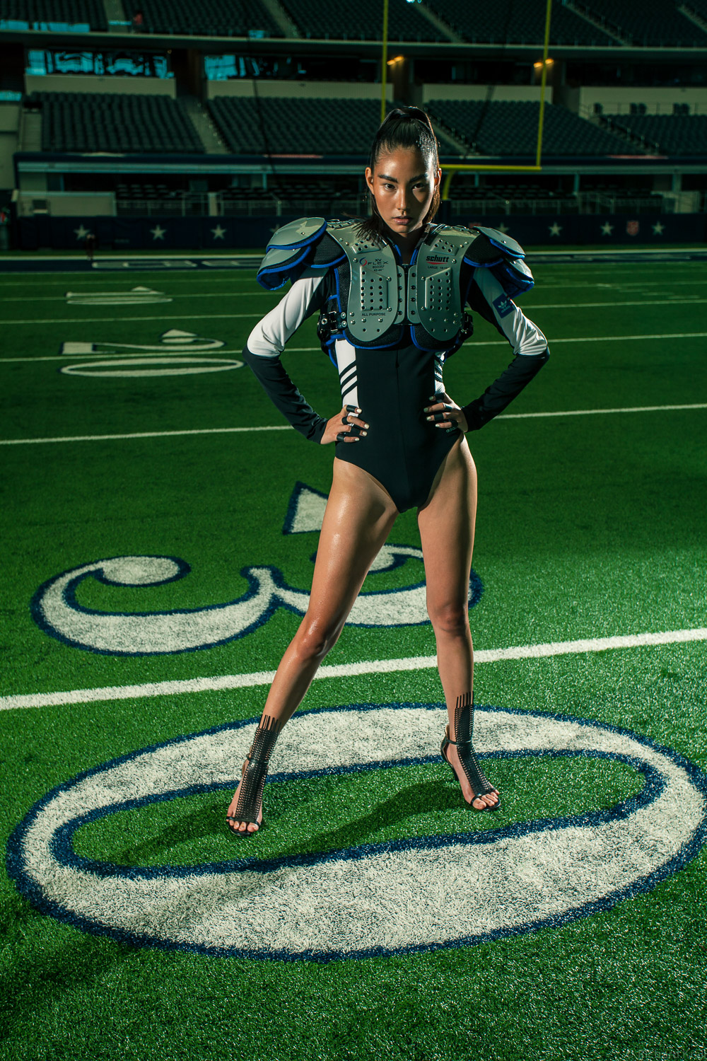 Model in Football pads